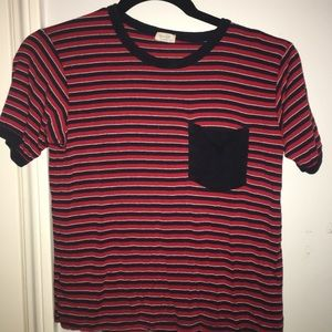 Red, navy blue, and black striped brandy tee